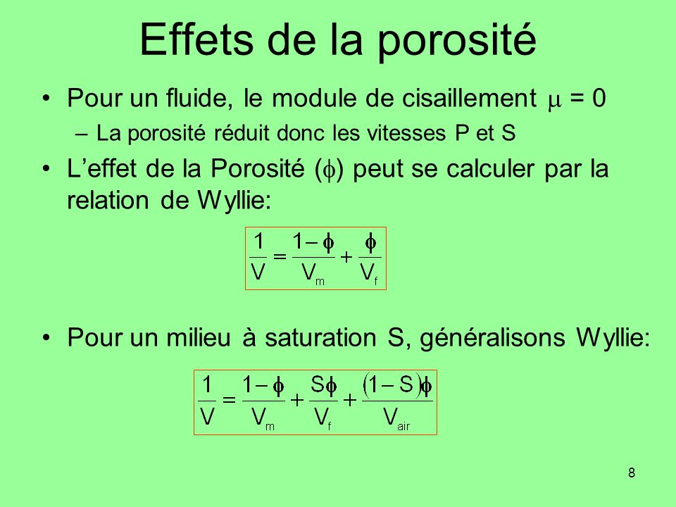 Effets de la porosité Pour un fluide, le module de cisaillement m = 0