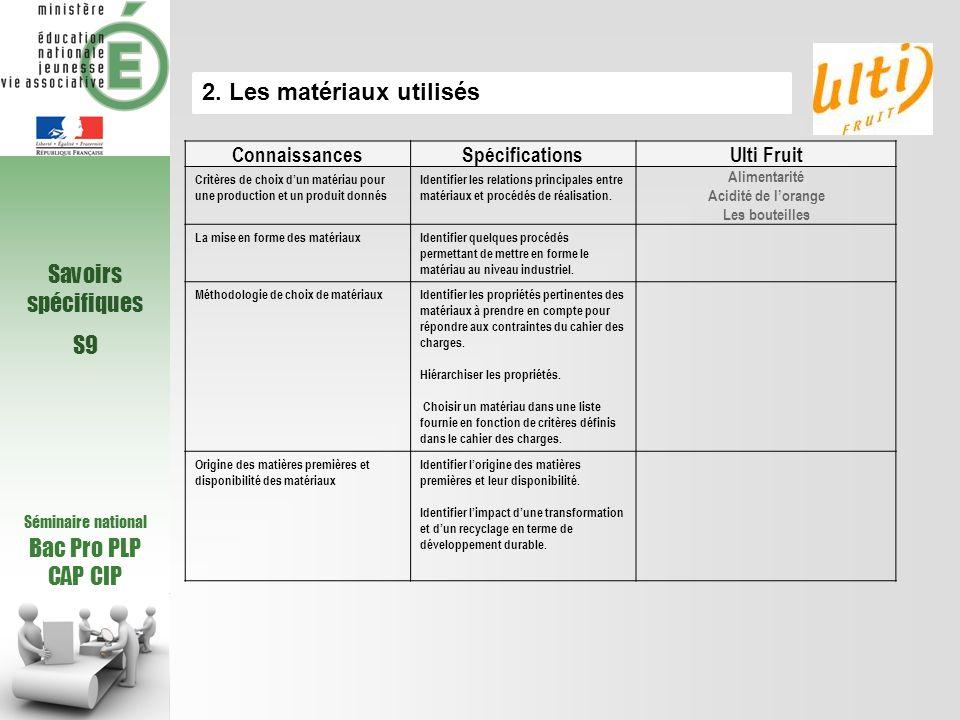 2. Les matériaux utilisés