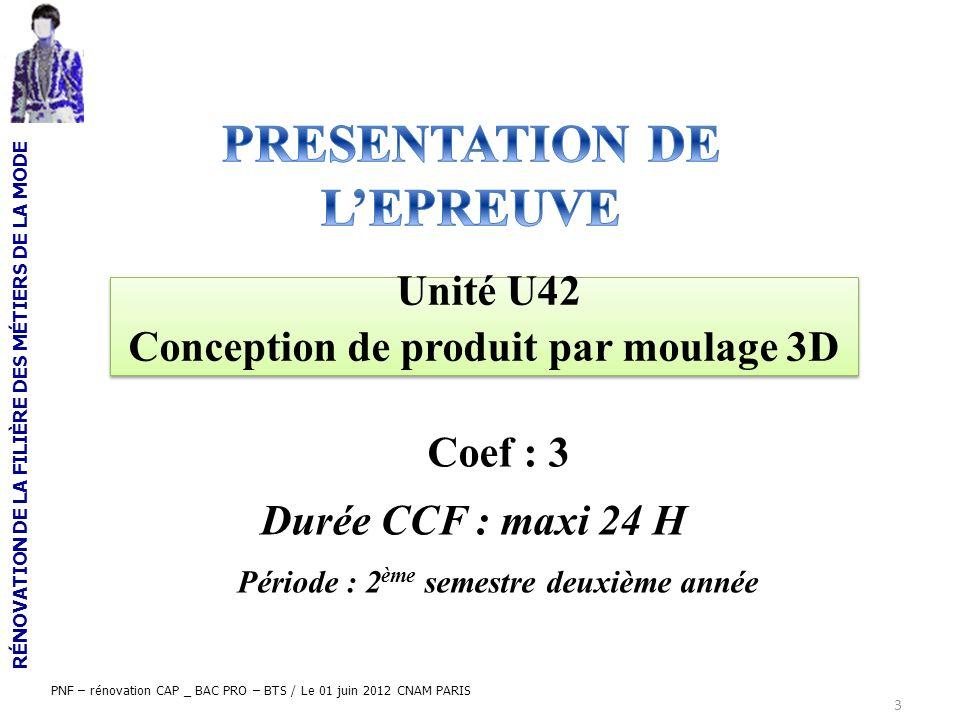 PRESENTATION DE L'EPREUVE