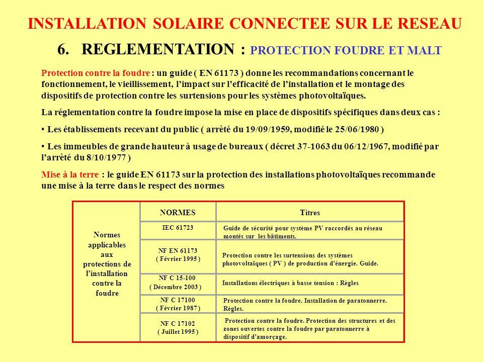 Normes applicables aux protections de l'installation contre la foudre