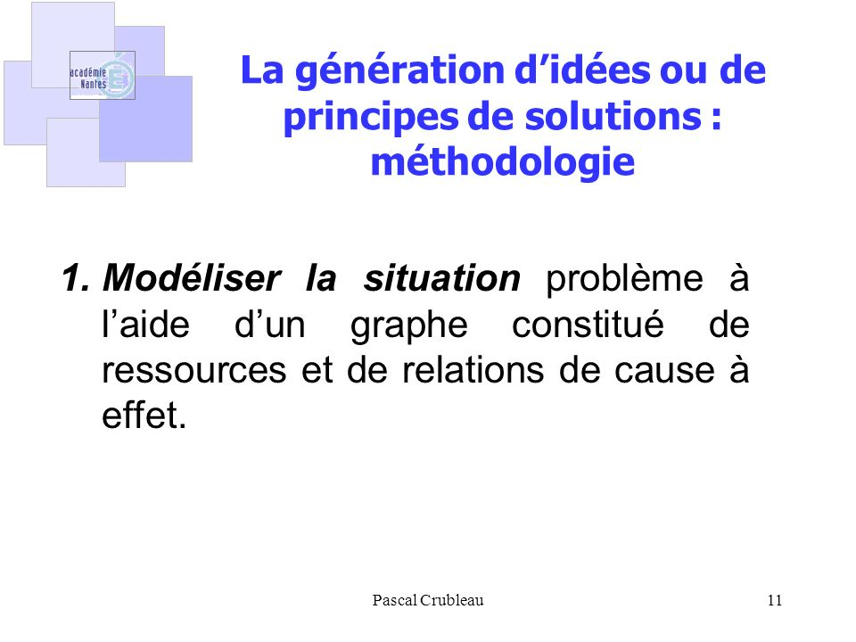 La génération d'idées ou de principes de solutions : méthodologie