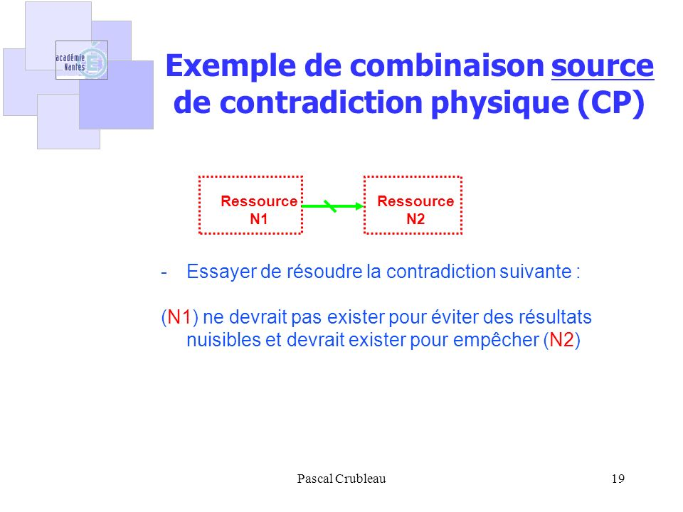 Exemple de combinaison source de contradiction physique (CP)
