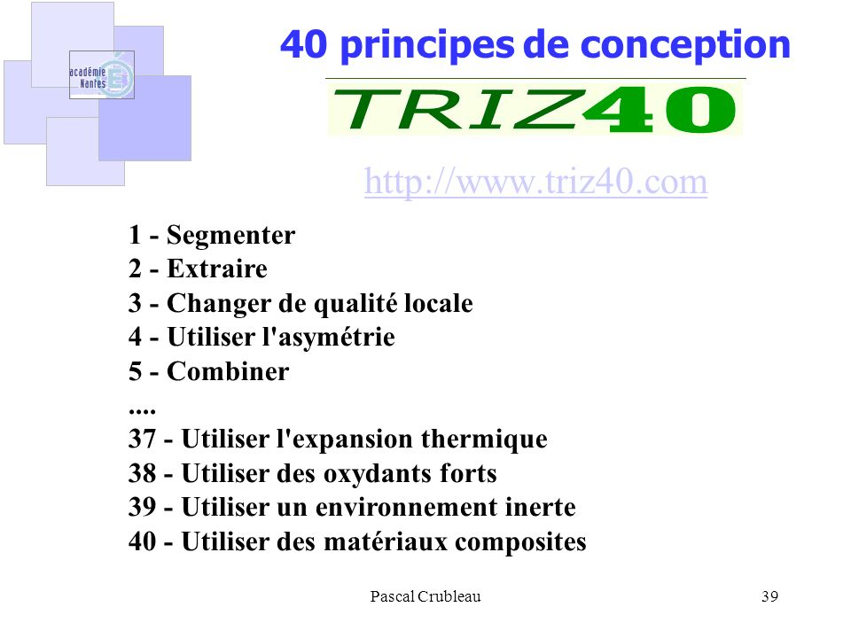 40 principes de conception http://www.triz40.com