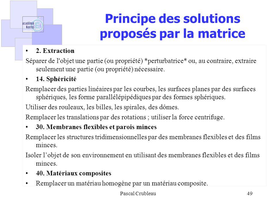 Principe des solutions proposés par la matrice