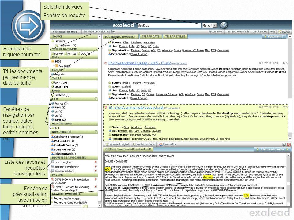 Sélection de vues Fenêtre de requête. Enregistre la requête courante. Tri les documents par pertinence, date ou taille.