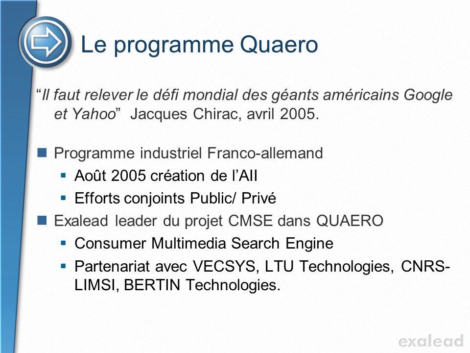 Le programme Quaero Il faut relever le défi mondial des géants américains Google et Yahoo Jacques Chirac, avril 2005.