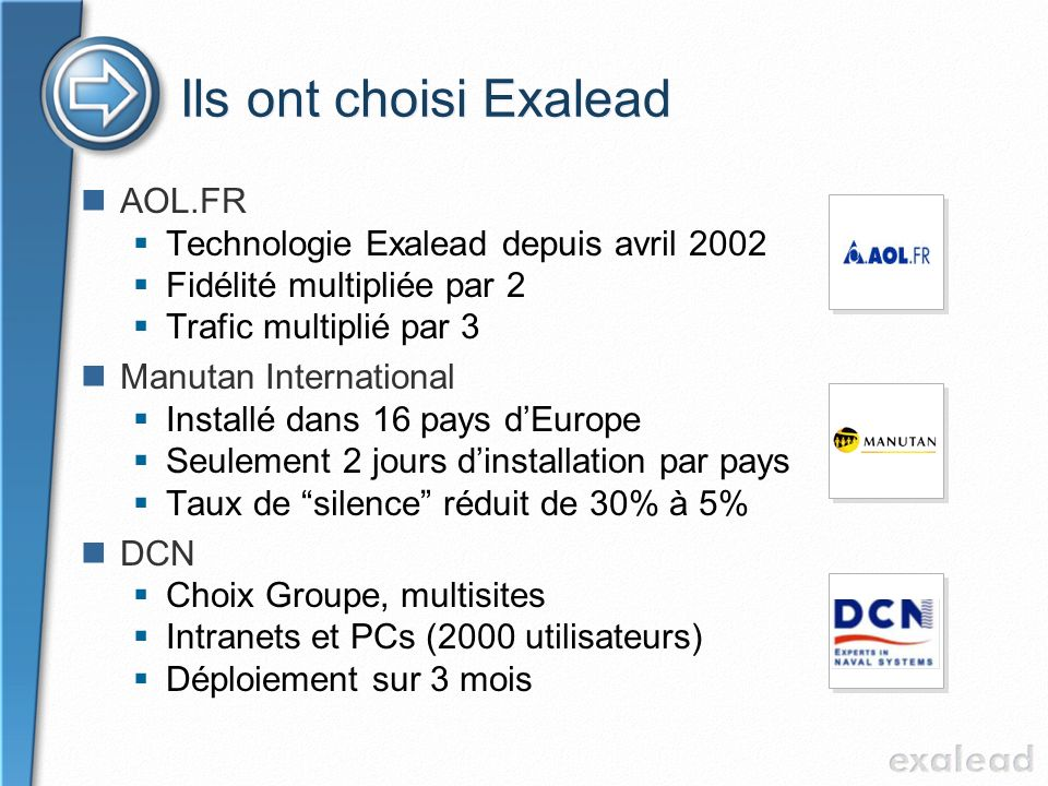 Ils ont choisi Exalead AOL.FR Technologie Exalead depuis avril 2002
