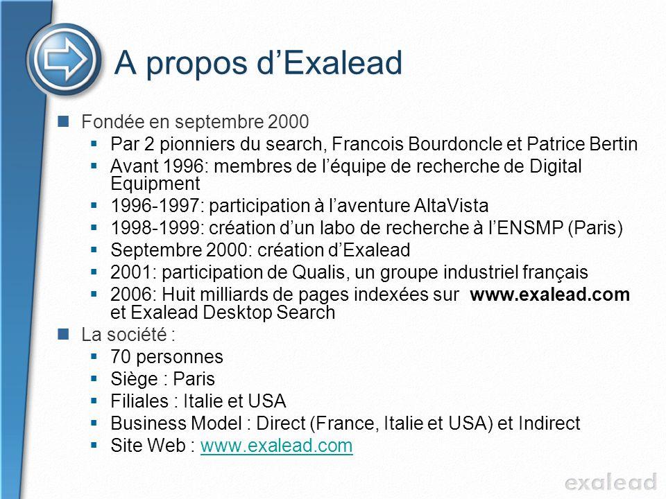 A propos d'Exalead Fondée en septembre 2000