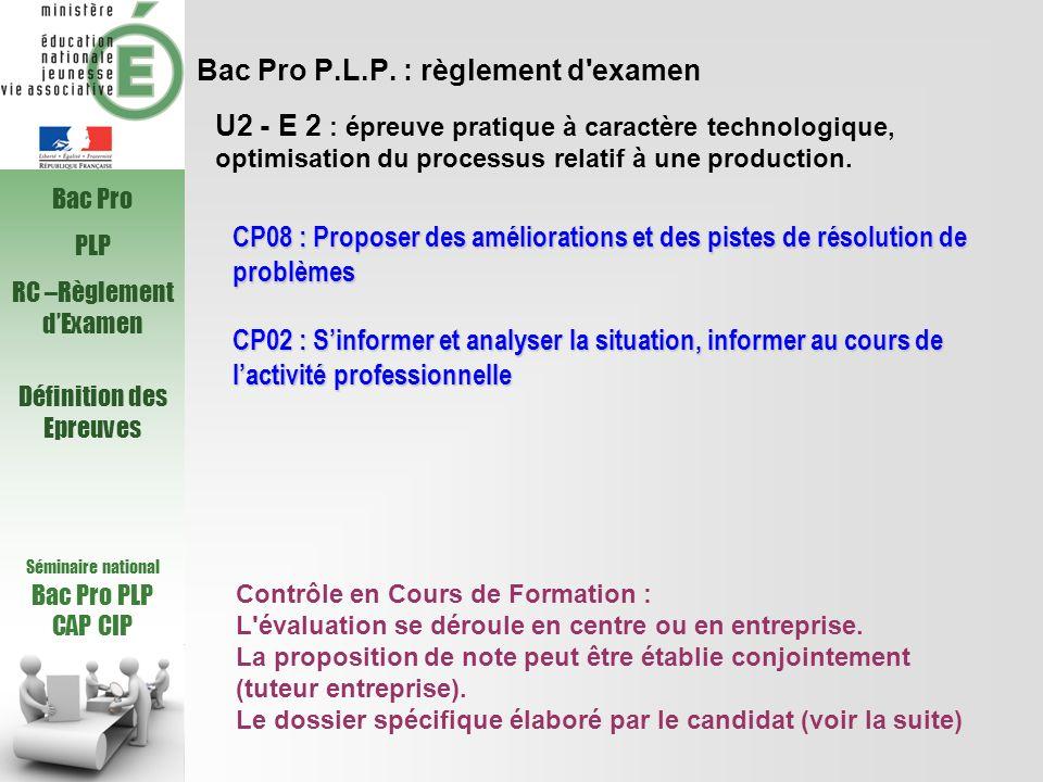 Bac Pro P.L.P. : règlement d examen