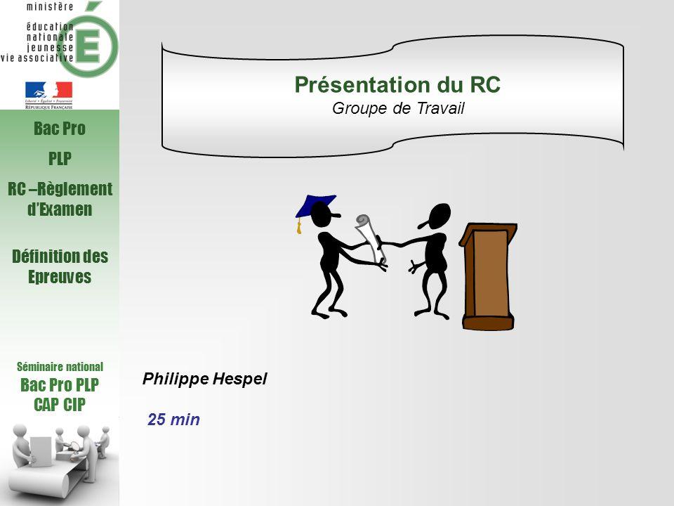 Présentation du RC Groupe de Travail Bac Pro PLP