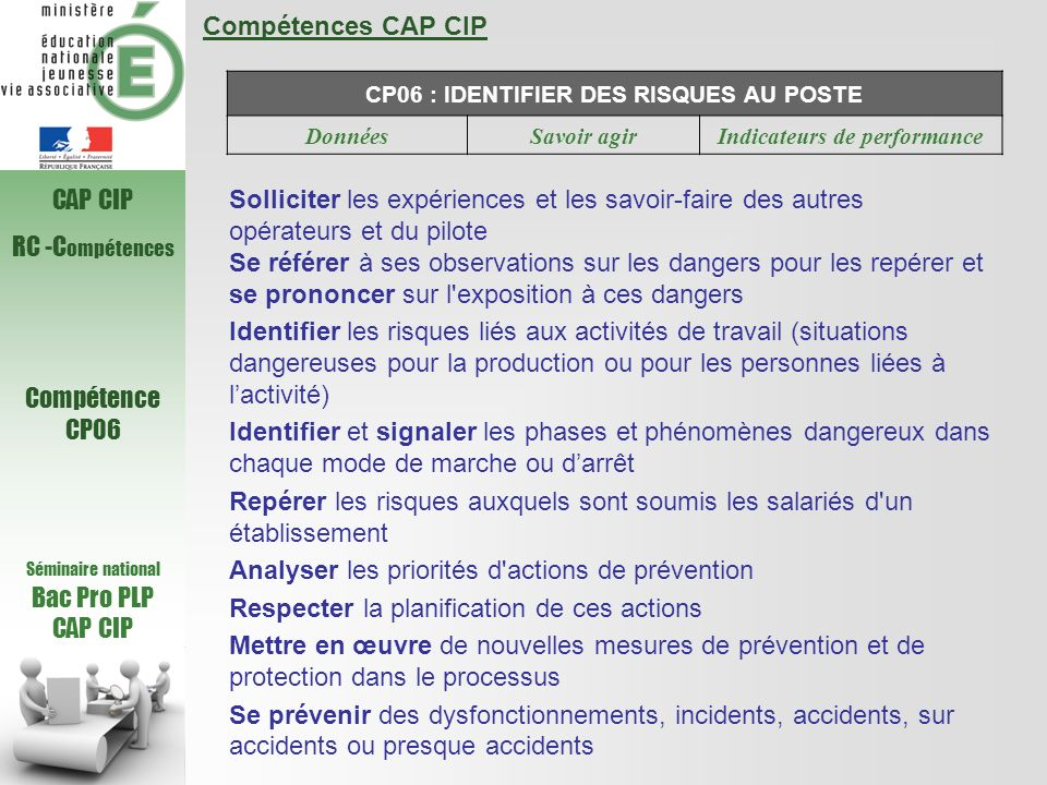 CP06 : IDENTIFIER DES RISQUES AU POSTE Indicateurs de performance