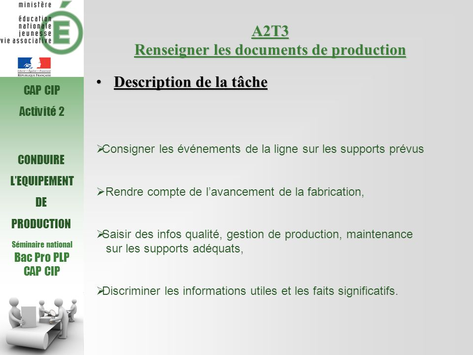 A2T3 Renseigner les documents de production