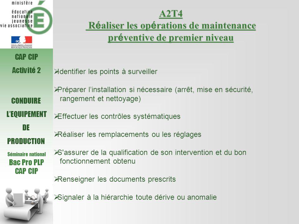 Séminaire national Bac Pro PLP. CAP CIP. A2T4 Réaliser les opérations de maintenance préventive de premier niveau.