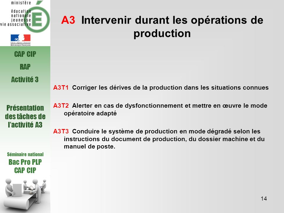 A3 Intervenir durant les opérations de production