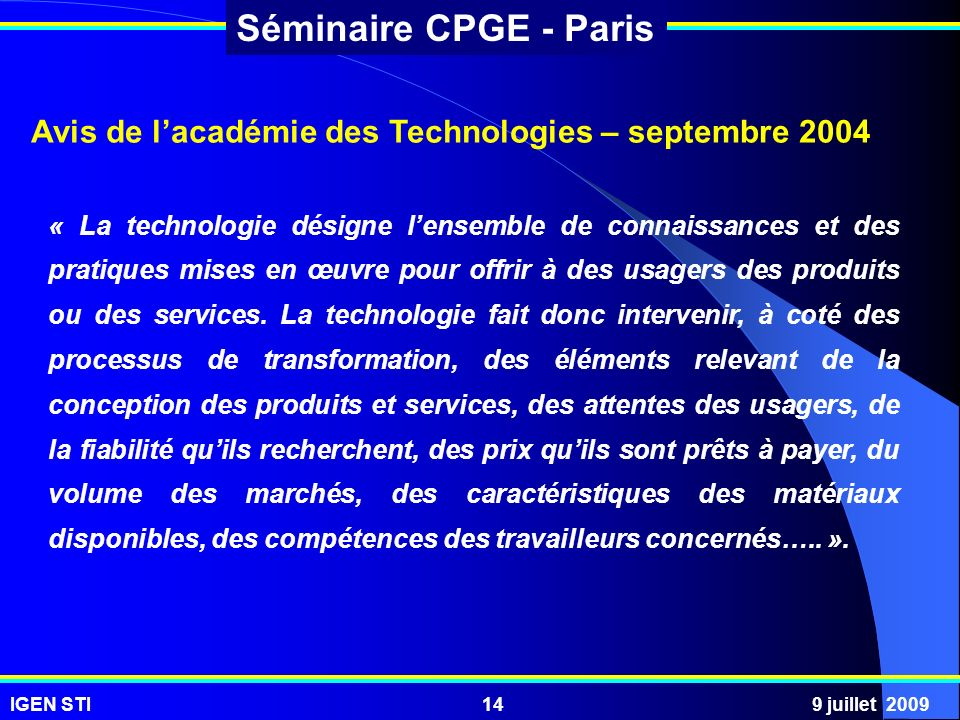 Avis de l'académie des Technologies – septembre 2004