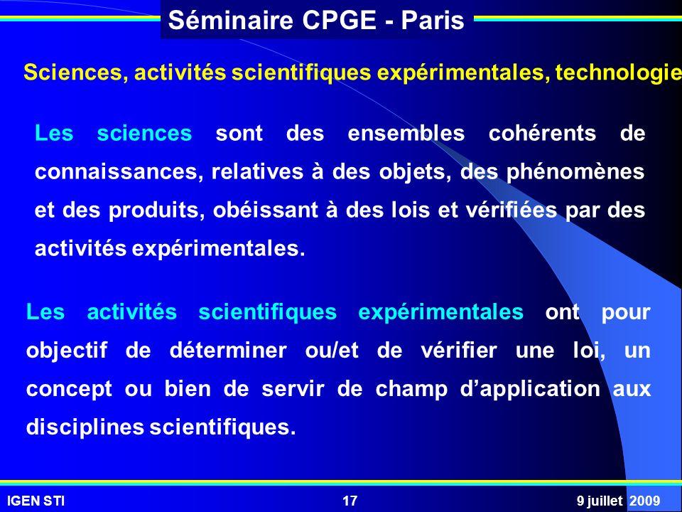 Sciences, activités scientifiques expérimentales, technologie