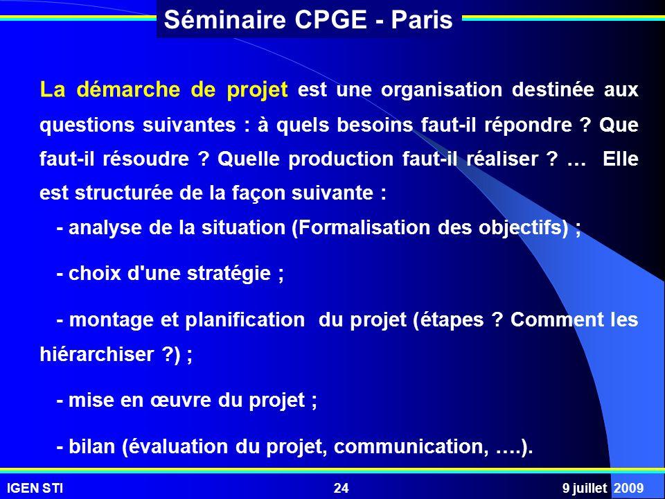 La démarche de projet est une organisation destinée aux questions suivantes : à quels besoins faut-il répondre Que faut-il résoudre Quelle production faut-il réaliser … Elle est structurée de la façon suivante :