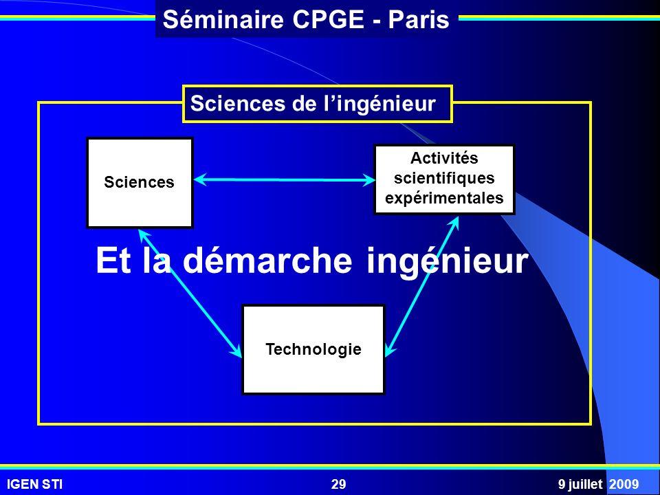 Activités scientifiques expérimentales