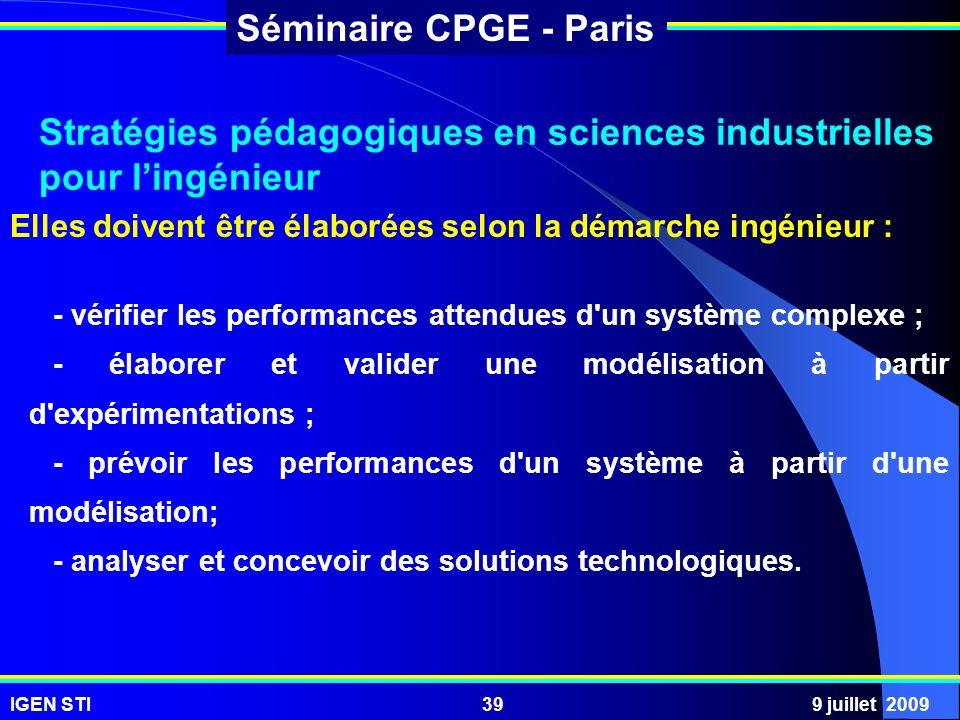 Stratégies pédagogiques en sciences industrielles pour l'ingénieur