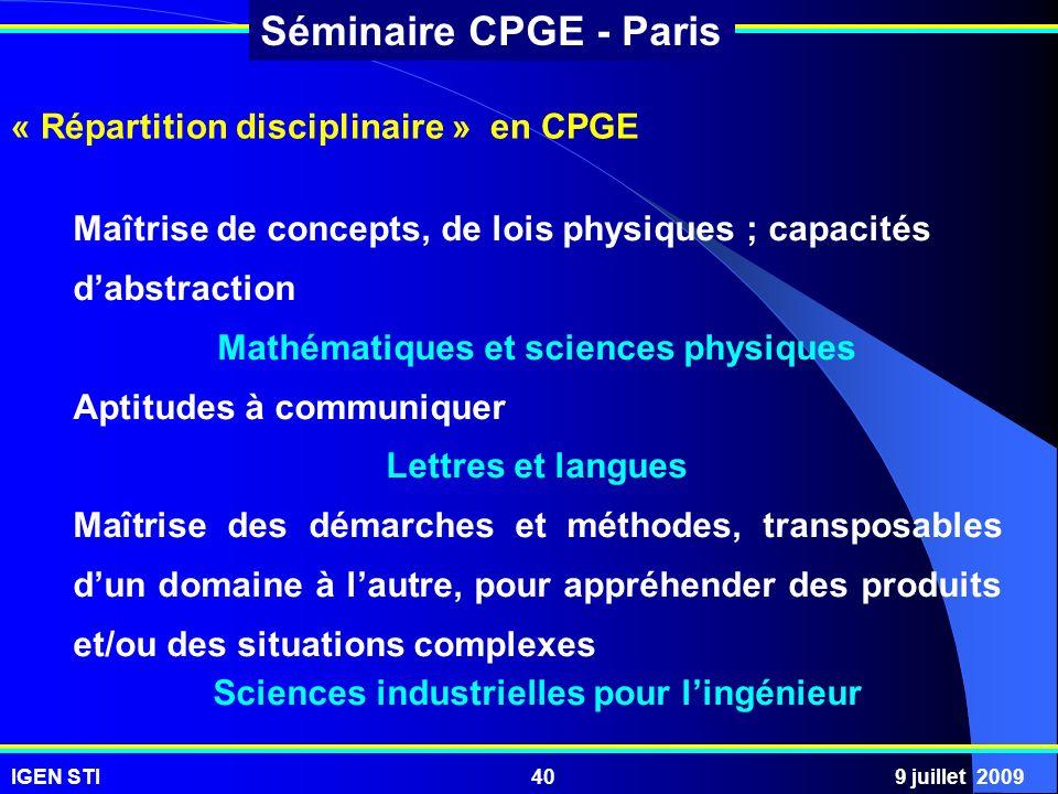 « Répartition disciplinaire » en CPGE