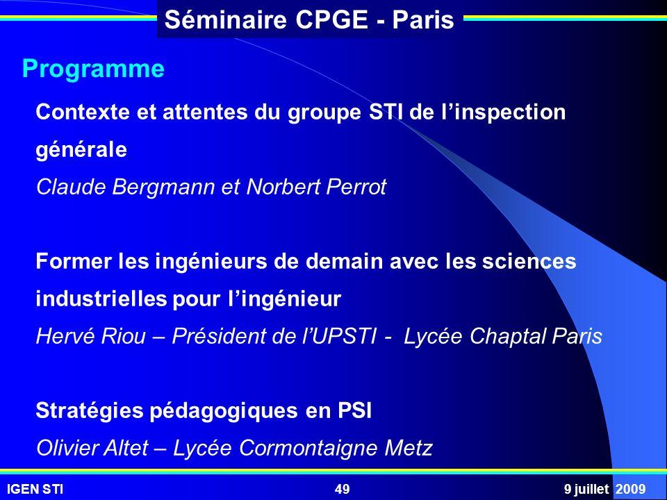 Programme Contexte et attentes du groupe STI de l'inspection générale