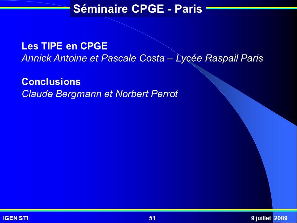 Les TIPE en CPGE Annick Antoine et Pascale Costa – Lycée Raspail Paris.