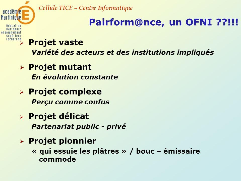 Pairform@nce, un OFNI !!! Projet vaste Projet mutant Projet complexe