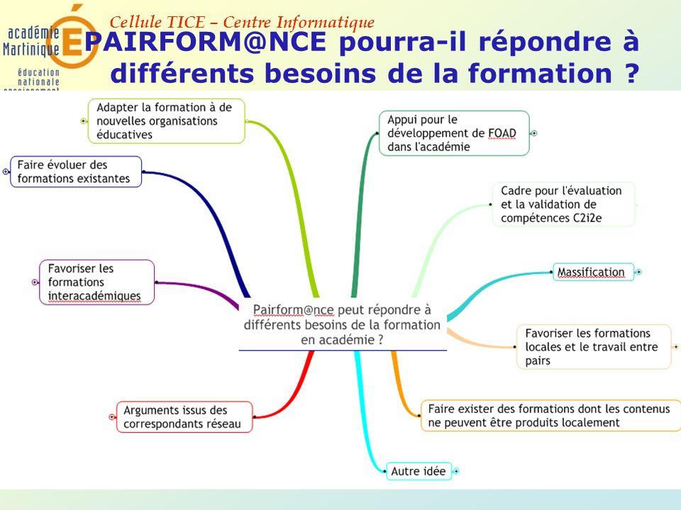 PAIRFORM@NCE pourra-il répondre à différents besoins de la formation