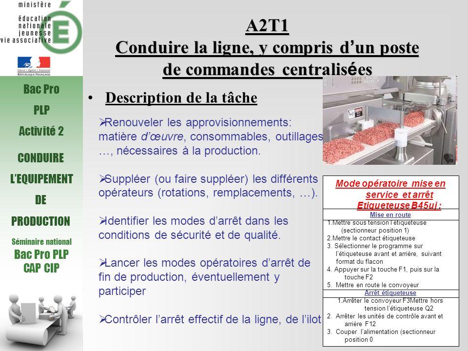 A2T1 Conduire la ligne, y compris d'un poste de commandes centralisées