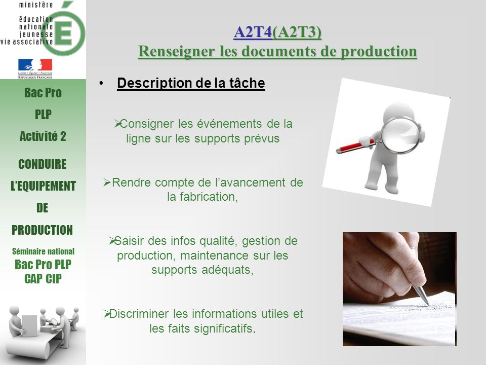 A2T4(A2T3) Renseigner les documents de production