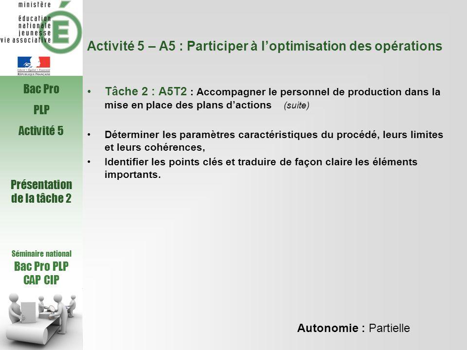 Activité 5 – A5 : Participer à l'optimisation des opérations