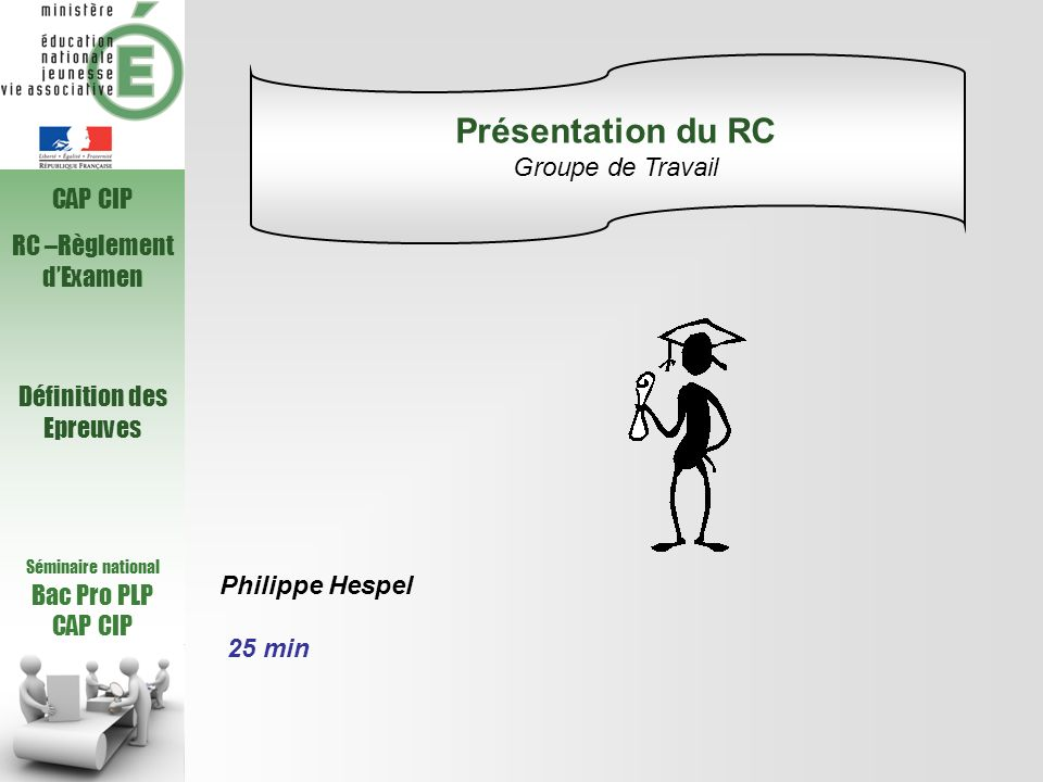 Présentation du RC Groupe de Travail CAP CIP RC –Règlement d'Examen