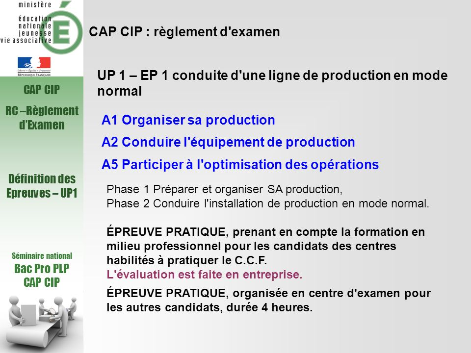 CAP CIP : règlement d examen
