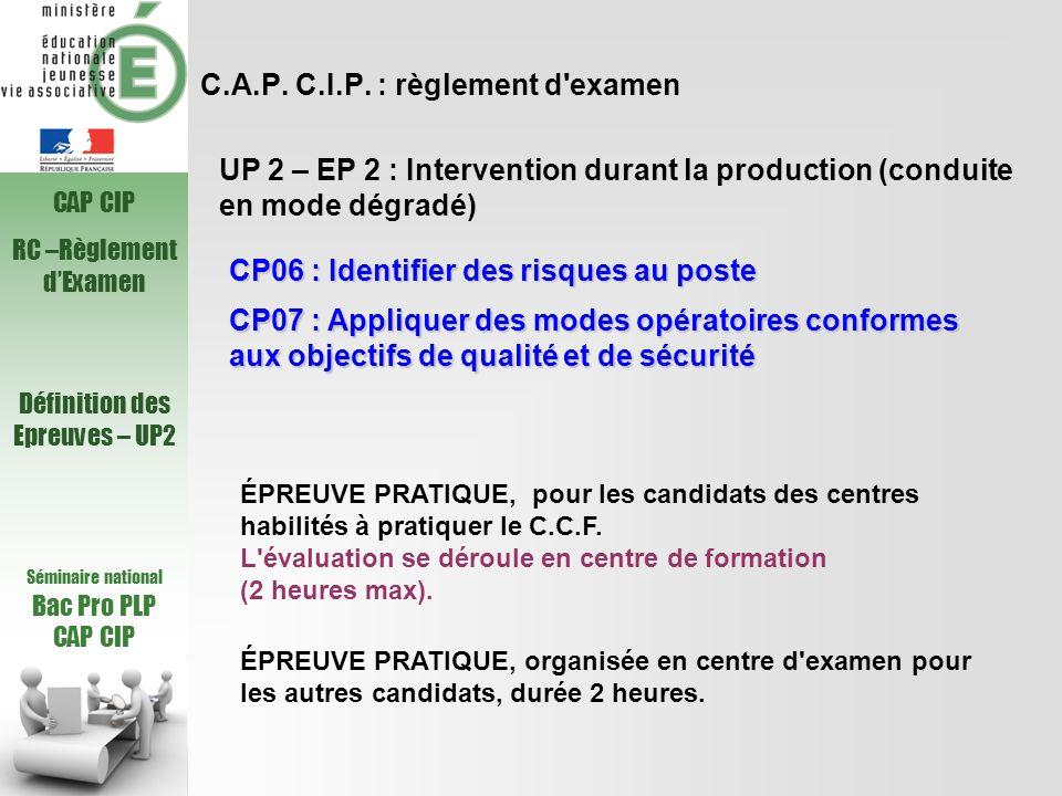 C.A.P. C.I.P. : règlement d examen