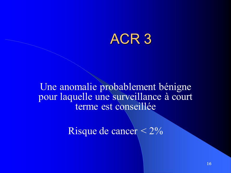 ACR 3 Une anomalie probablement bénigne pour laquelle une surveillance à court terme est conseillée.