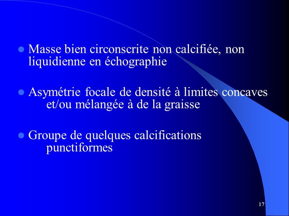 Masse bien circonscrite non calcifiée, non liquidienne en échographie