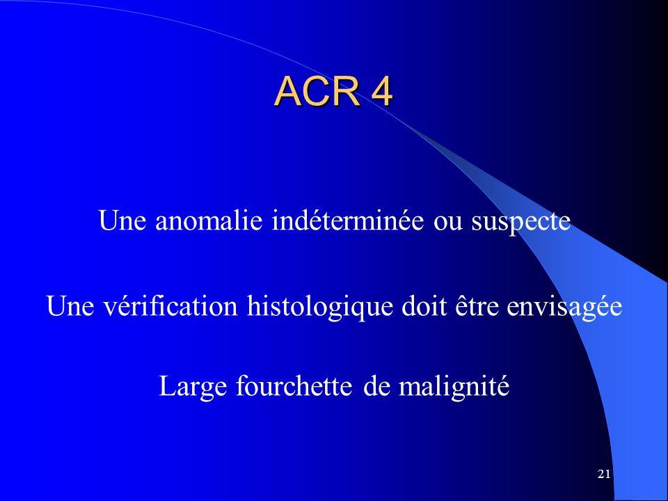 ACR 4 Une anomalie indéterminée ou suspecte