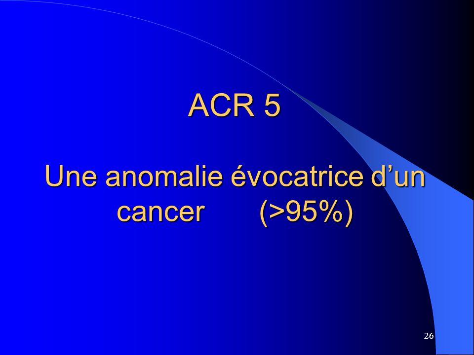 ACR 5 Une anomalie évocatrice d'un cancer (>95%)