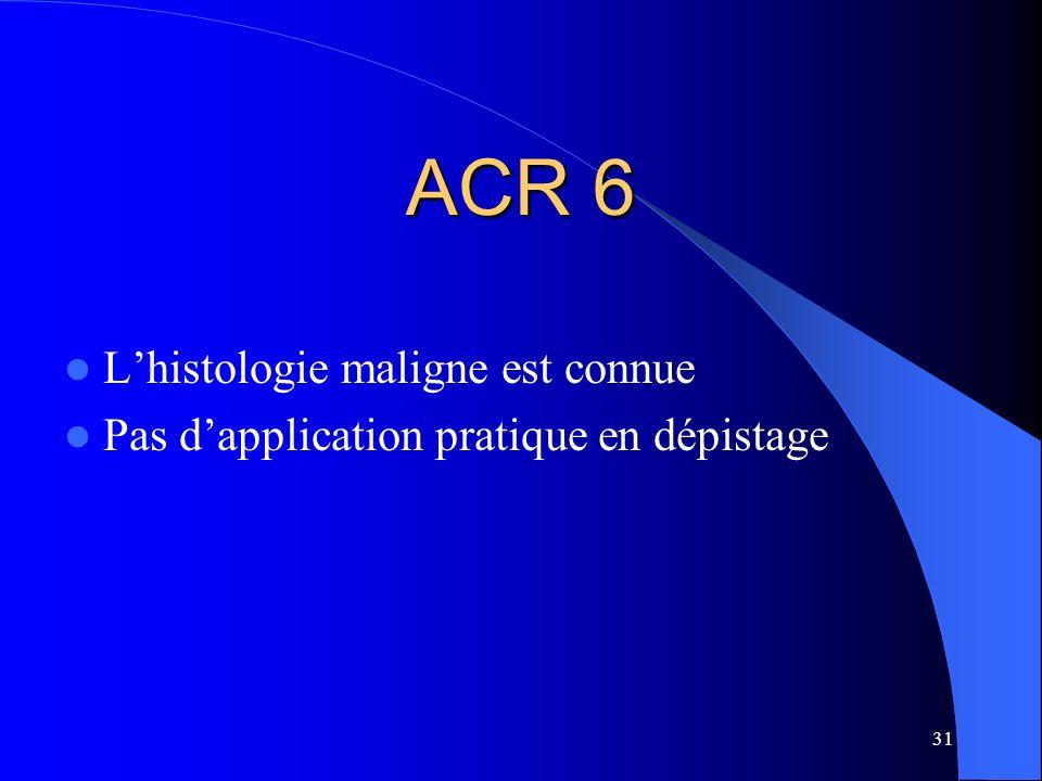 ACR 6 L'histologie maligne est connue