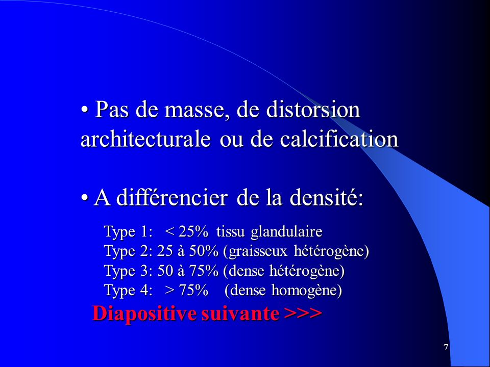 Pas de masse, de distorsion architecturale ou de calcification