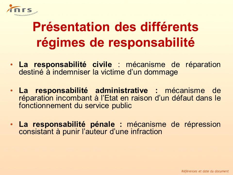 Présentation des différents régimes de responsabilité