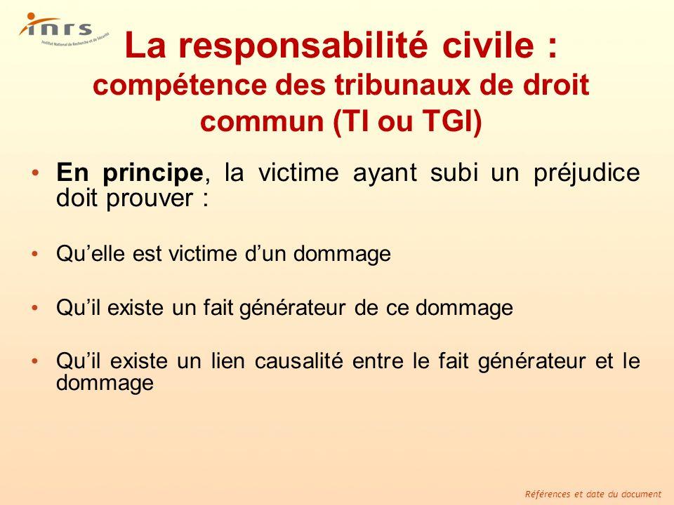 La responsabilité civile : compétence des tribunaux de droit commun (TI ou TGI)