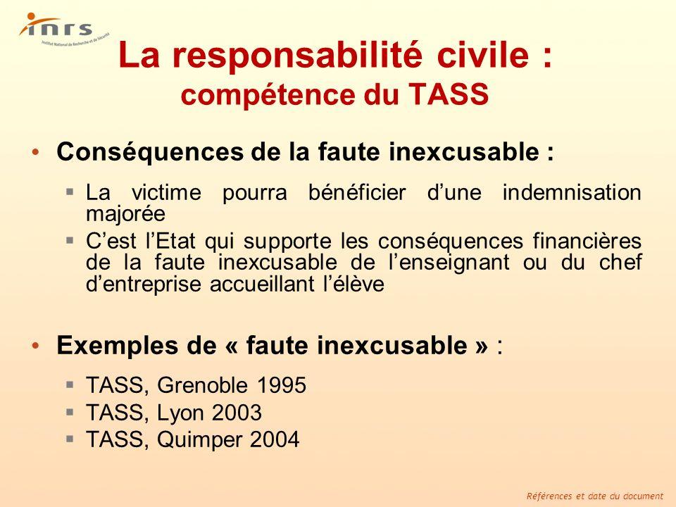 La responsabilité civile : compétence du TASS
