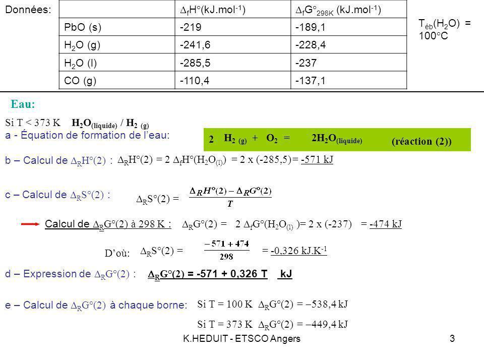 Eau: Données: DfH°(kJ.mol-1) DfG°298K (kJ.mol-1) PbO (s) -219 -189,1
