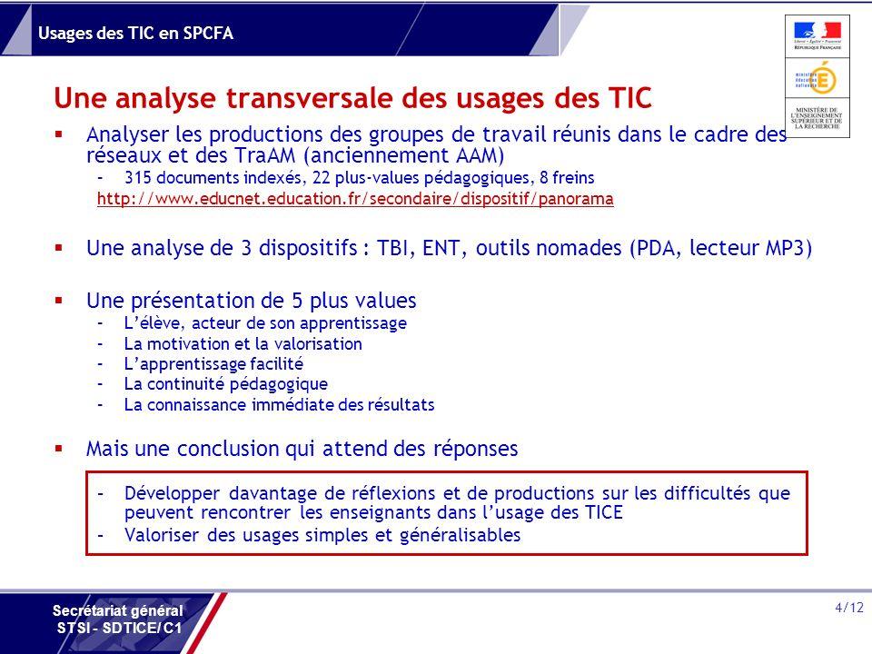 Une analyse transversale des usages des TIC