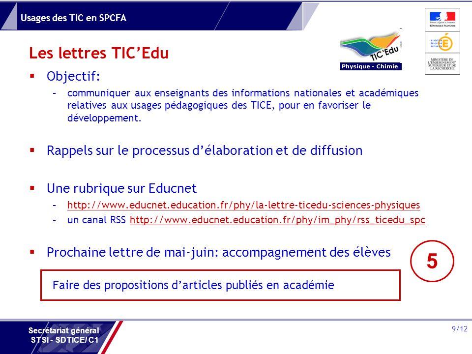 5 Les lettres TIC'Edu Objectif:
