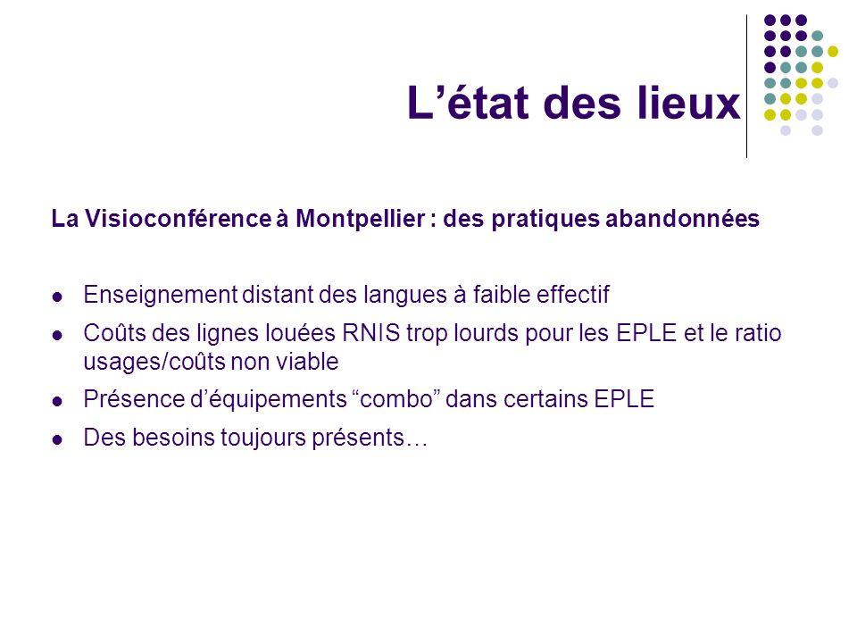 L'état des lieuxLa Visioconférence à Montpellier : des pratiques abandonnées. Enseignement distant des langues à faible effectif.