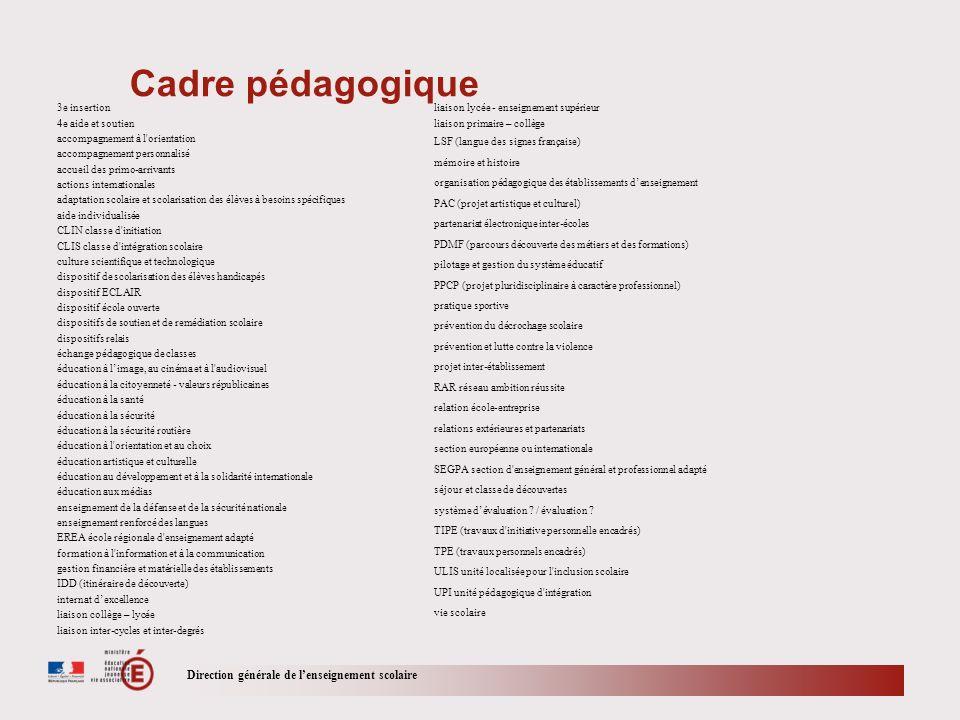 Cadre pédagogique Direction générale de l'enseignement scolaire