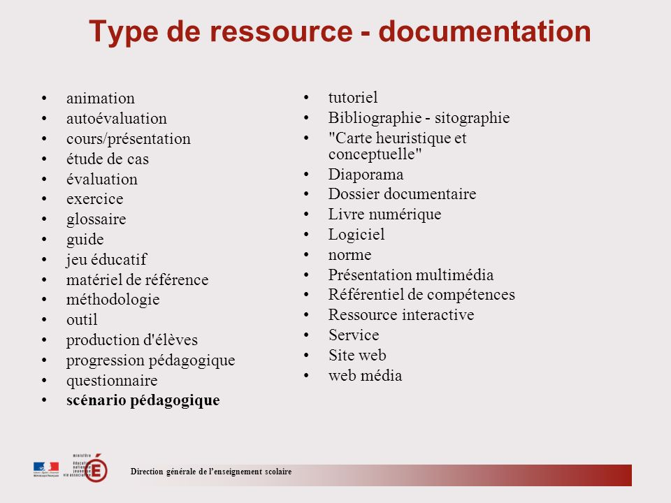 Type de ressource - documentation