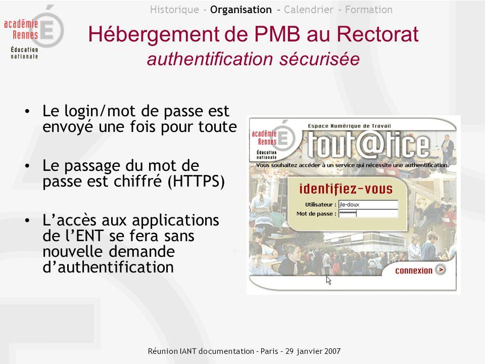 Hébergement de PMB au Rectorat authentification sécurisée